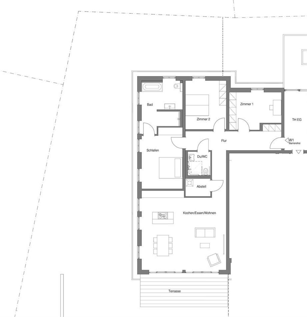 Grundriss Erdgeschosswohnung mit Garten