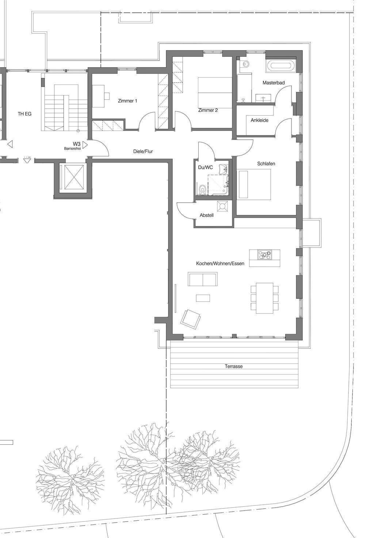 Grundriss Erdgeschosswohnung mit Garten 3
