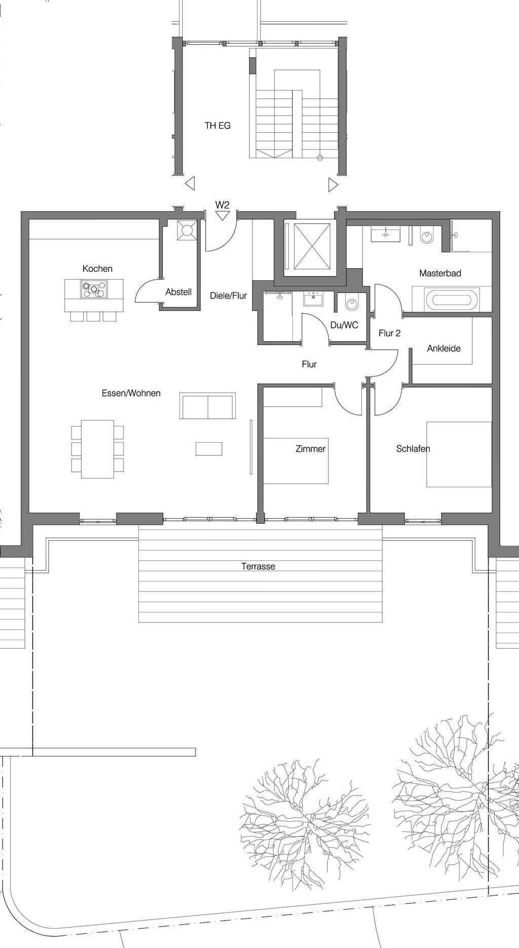 Grundriss Erdgeschosswohnung mit Garten 2