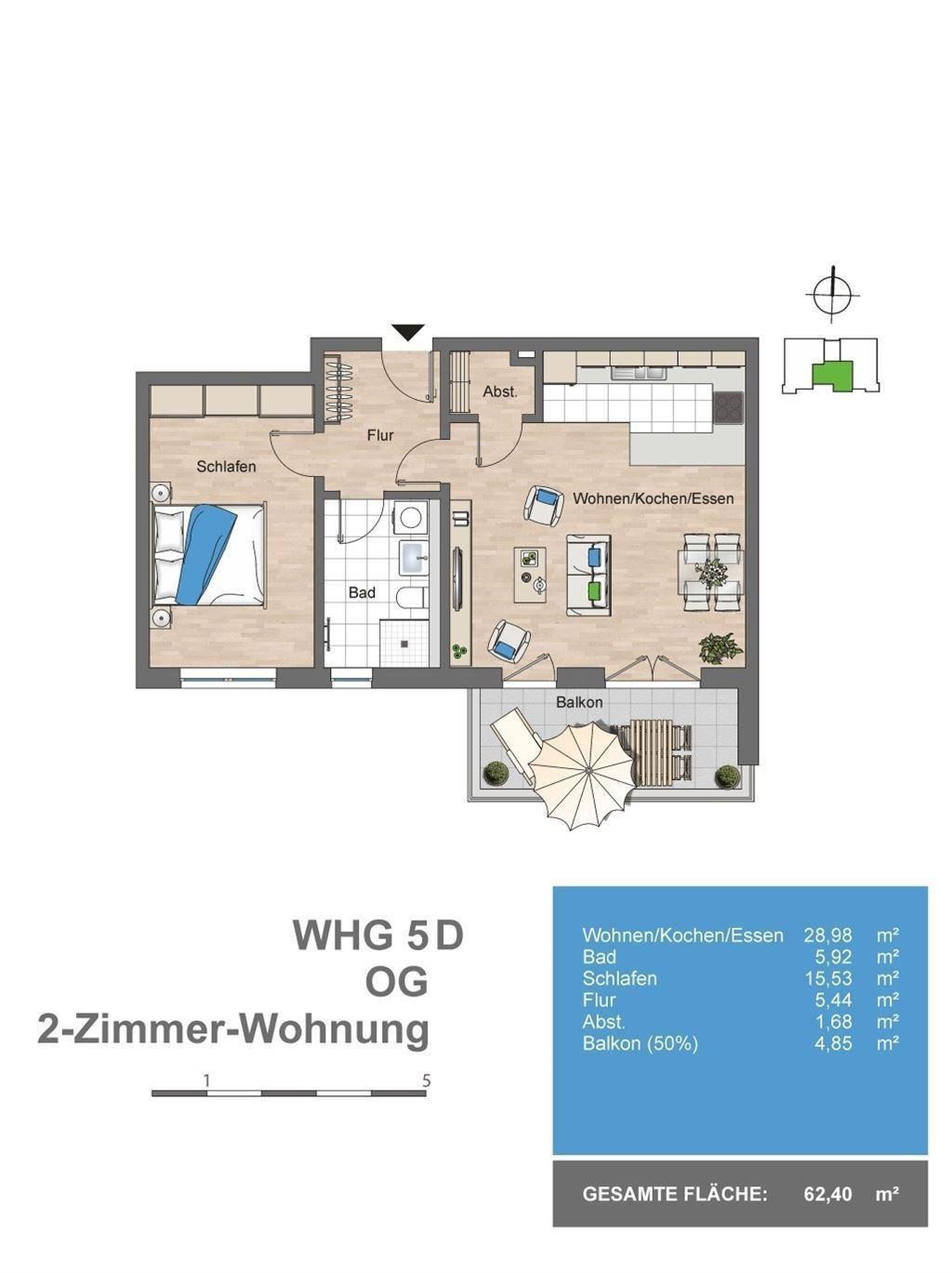Grundriss Whg. 1. OG (5-D)